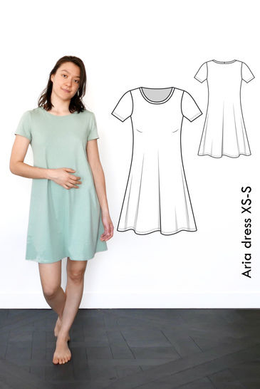 Aria Tshirt dress - XS-S / US size 4-6 / UK 6-8 - sewing pattern A4 + US letter at Makerist - Image 1
