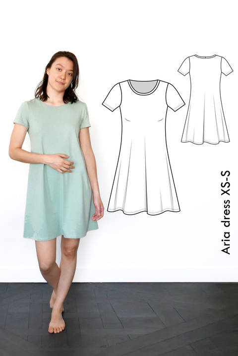 Aria Tshirt dress - XS-S / US size 4-6 / UK 6-8 - sewing pattern A4 + US letter at Makerist