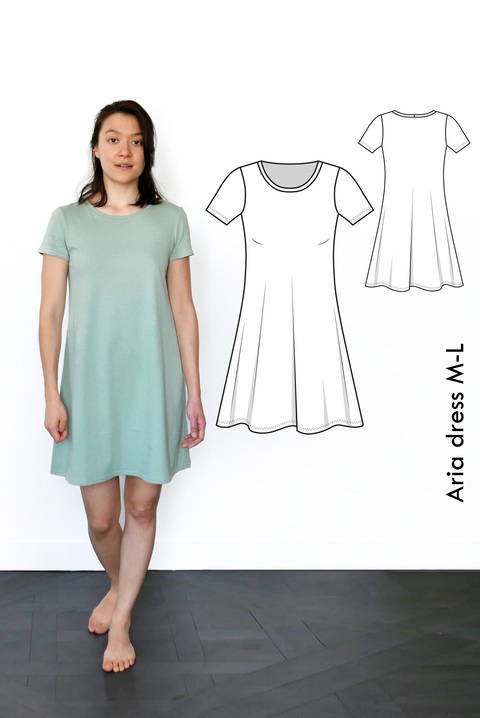 Aria Tshirt dress - M-L / US size 8-10 / UK 10-12 - sewing pattern A4 + US letter at Makerist