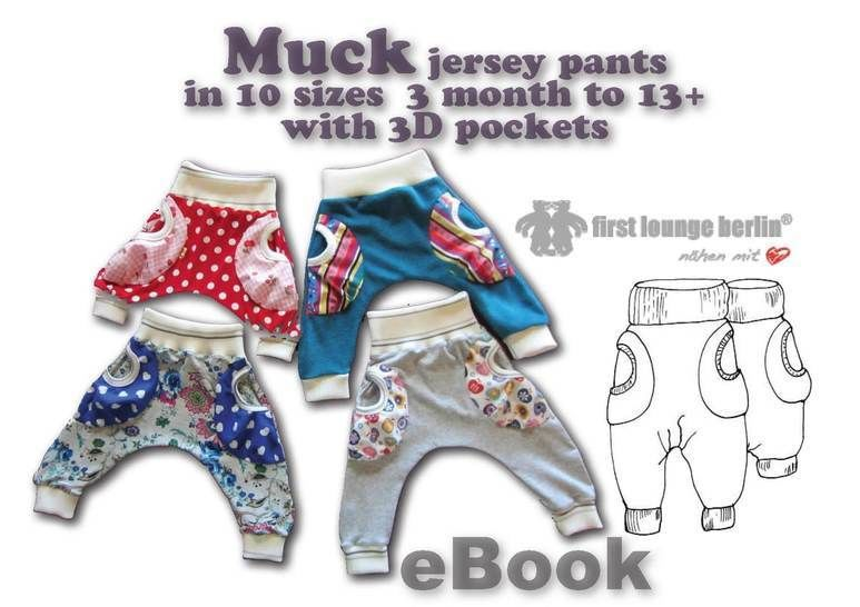 US-Muck eBook Jersey baggy trouser kids + 3D pockets, sewing instruction & patterns in 10 sizes 3 month - 13+ from Boys Girls Teens at Makerist - Image 1