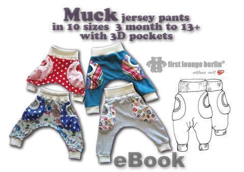 US-Muck eBook Jersey baggy trouser kids + 3D pockets, sewing instruction & patterns in 10 sizes 3 month - 13+ from Boys Girls Teens