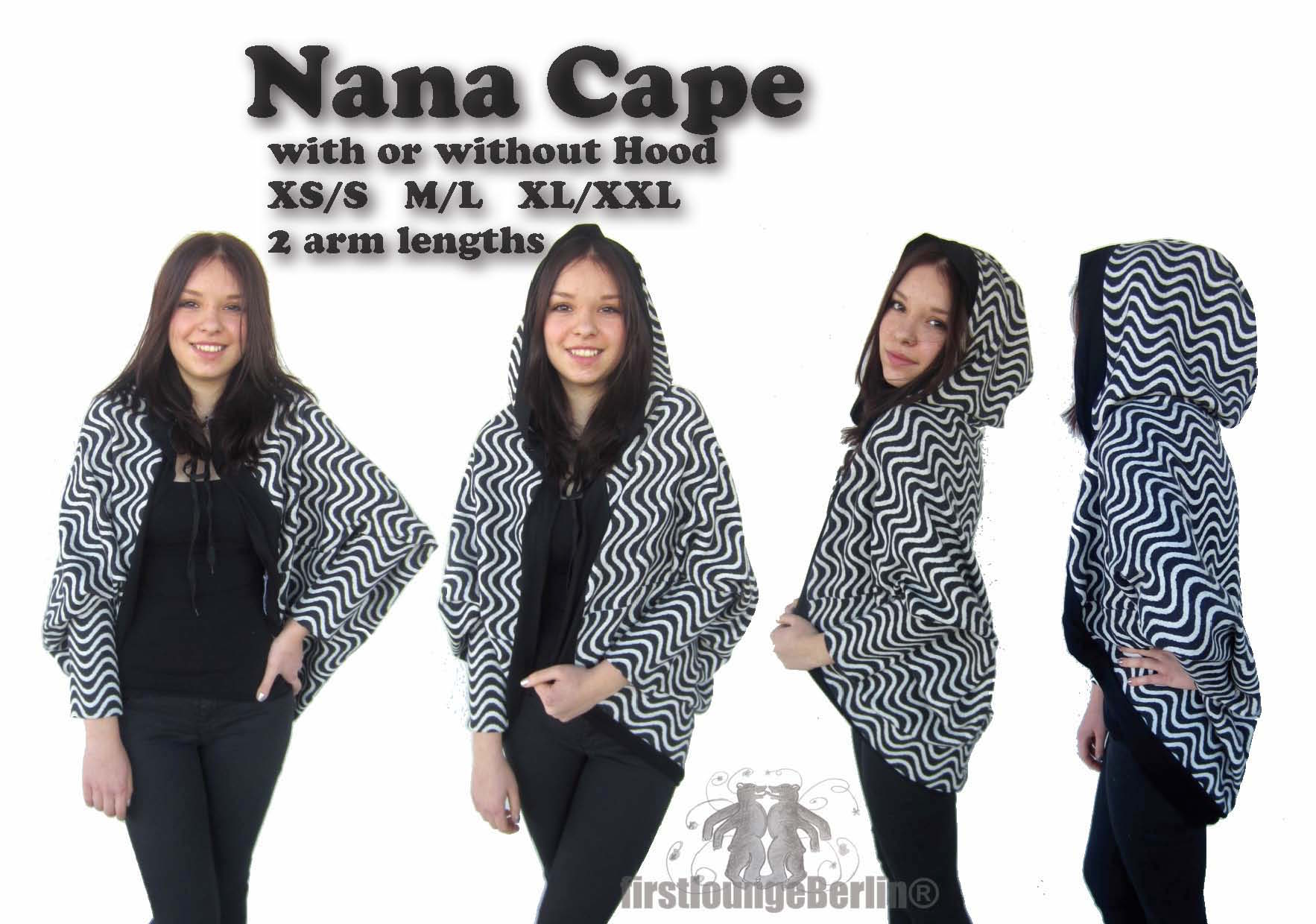 US-Nana Cape Pdf-file eBook Poncho sewing instruction with patterns in 3 doublesize xs-xxl handmade ladies women mrs. teenager girls