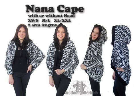 US-Nana Cape Pdf-file eBook Poncho sewing instruction with patterns in 3 doublesize xs-xxl handmade ladies women mrs. teenager girls at Makerist