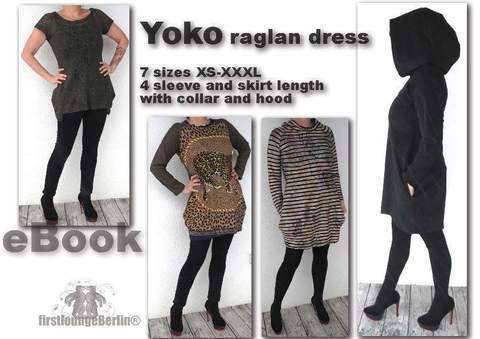 US-Yoko PDF eBook sewing instruction with patterns for jersey raglan dress in 7 sizes xs-xxxl - made with LOVE from firstloungeberlin