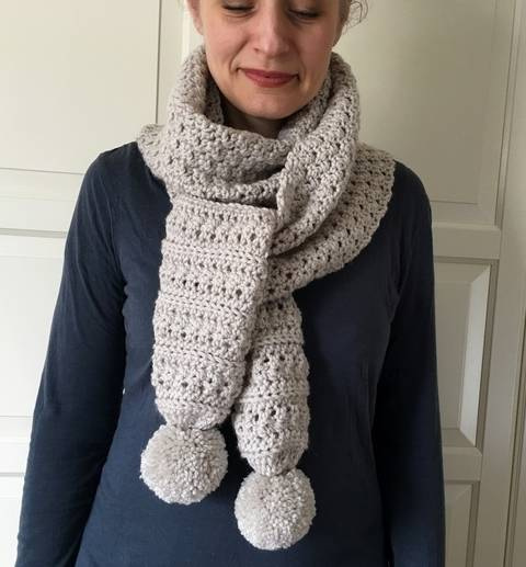 Easy Crochet Scarf Pattern for Women (Two Pom-Bombs Scarf)