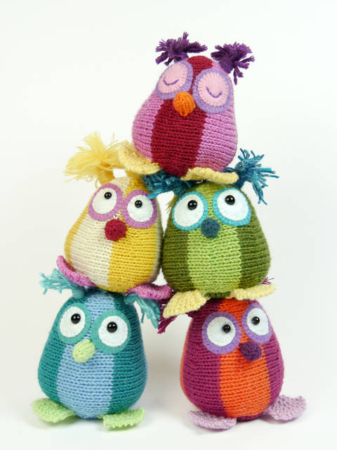 Mini Owls, Stash Gobblers #03, knitting pattern