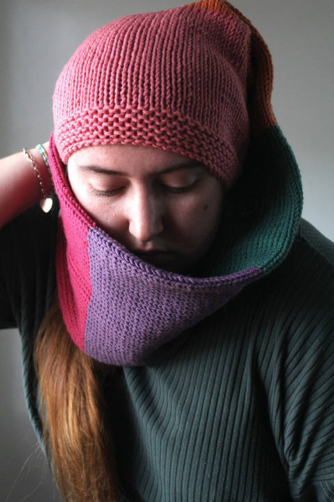 Knitted Beanie Scarf - Knitting Pattern
