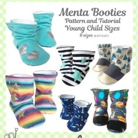 Young Child Menta Booties Sewing pattern and tutorial 6 sizes