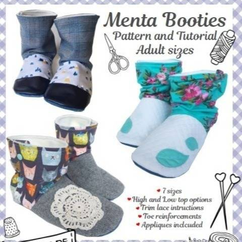 Menta Booties sewing pattern and tutorial 7 sizes