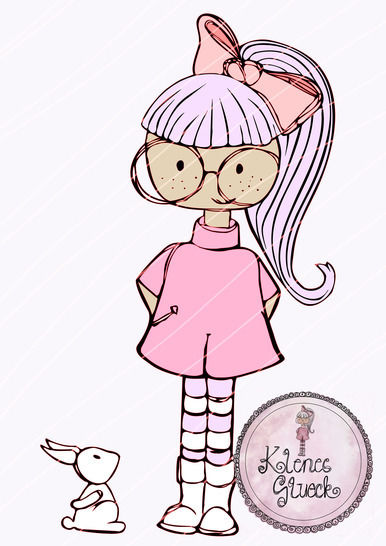 "Plotterdatei Brillenmädel ""Lotte"" mit Hasi  bei Makerist - Bild 1"