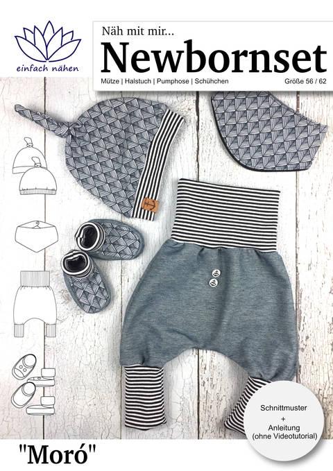 Newbornset Moró | Set für Neugeborene (Mütze, Halstuch, Pumphose, Schühchen)