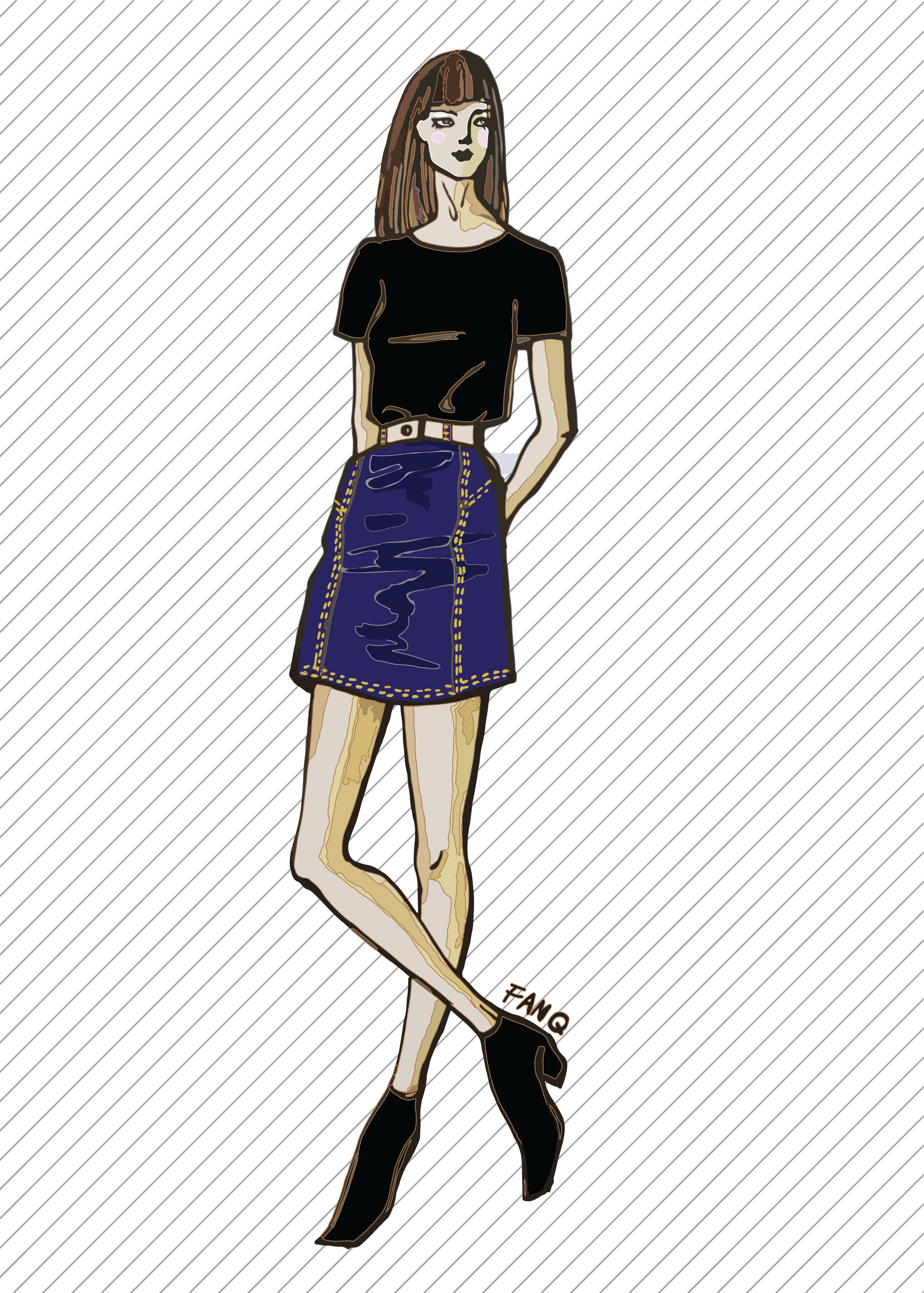 SK709 Jupe en jean - Patron de couture PDF