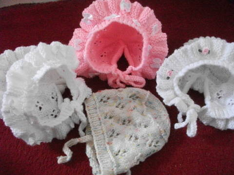 frills and lace baby bonnet - 3 versions