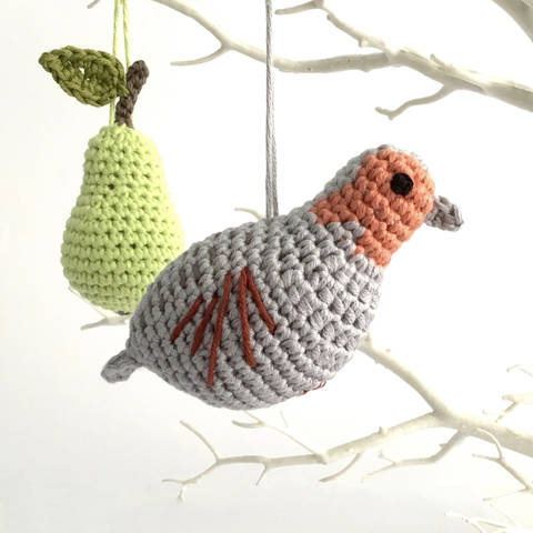 Partridge in a Pear Tree Crochet Ornaments