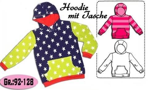 Schnittmuster & Nähanleitung  Hoodie mit Tasche Gr.:92-128