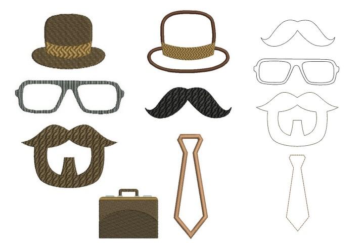 Stickdatei - Männer - Bart Hut Brille