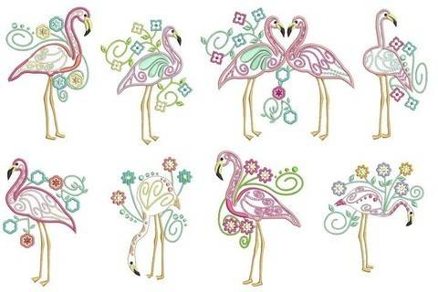 Stickdatei - Flowery Flamingo in PES
