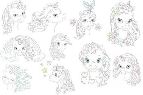 Stickdatei - Baby Unicorn LineArt in PES