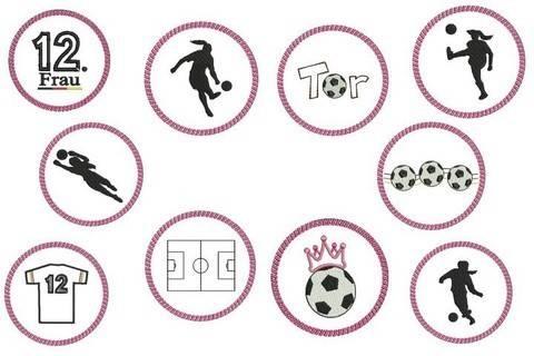ITH Stickdatei Untersetzer - Fußball Ladies Silhouette - in PES