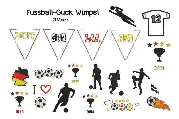 ITH Stickdatei Wimpel - Fußball Deutschland - in PES