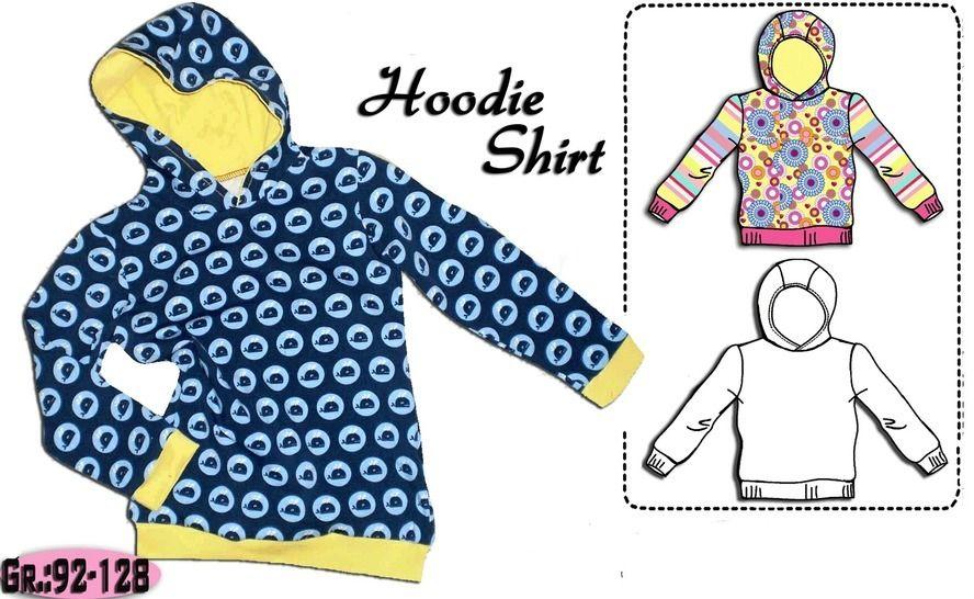 Schnittmuster & Nähanleitung einfaches Hoodie Shirt Gr.:92-128 bei Makerist - Bild 1