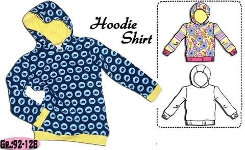 Schnittmuster & Nähanleitung einfaches Hoodie Shirt Gr.:92-128 bei Makerist
