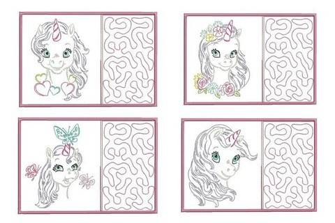 ITH Stickdatei - Mug Rugs Baby Unicorn LineArt - in PES