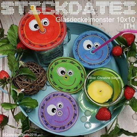 Glasdeckel Monster 10x10 ith 6 Motive Stickdatei bei Makerist