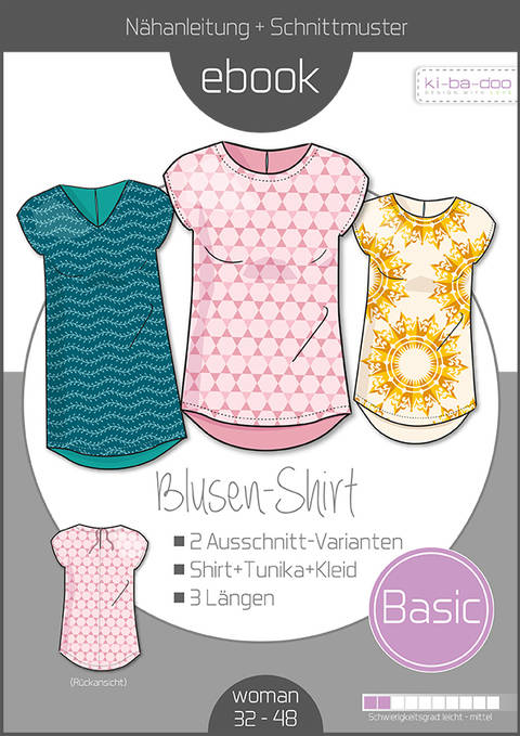 Ebook/Nähanleitung Basic Blusen-Shirt Damen Gr. 32-50 bei Makerist