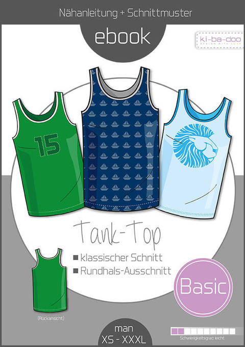 Ebook/Nähanleitung Basic Tank Top Herren Gr. XS-XXXL bei Makerist