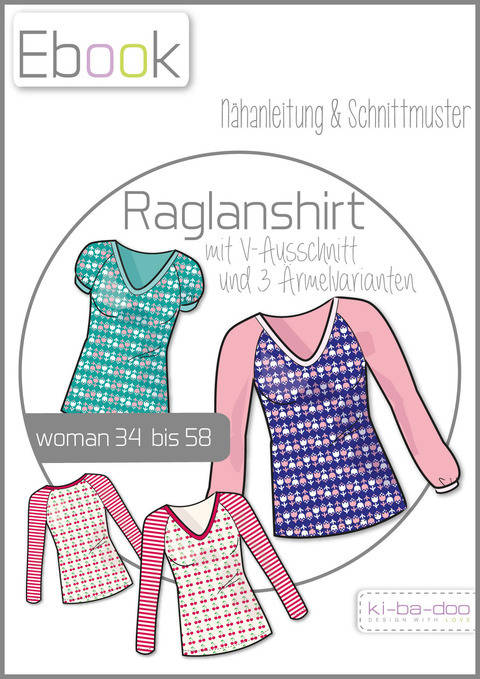Ebook/Nähanleitung Raglan V-Shirt Damen Gr. 34-58 bei Makerist