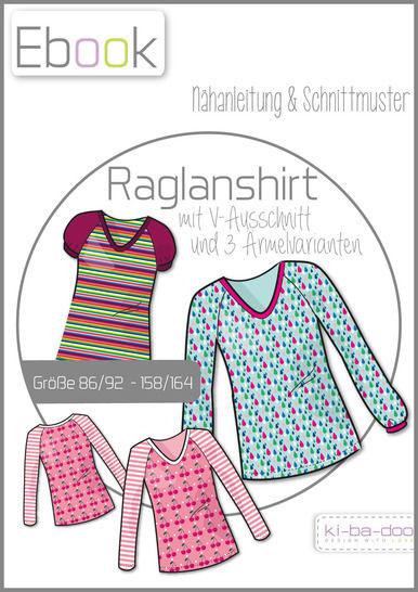 Ebook/Nähanleitung Raglan V-Shirt Mädchen Gr. 86/92 - 158/164 bei Makerist - Bild 1