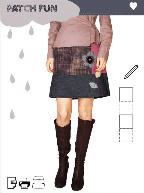 Girl-Patch-Skirt-Flower pdf pattern with illustrated instruction. Size XS,S,M,L.