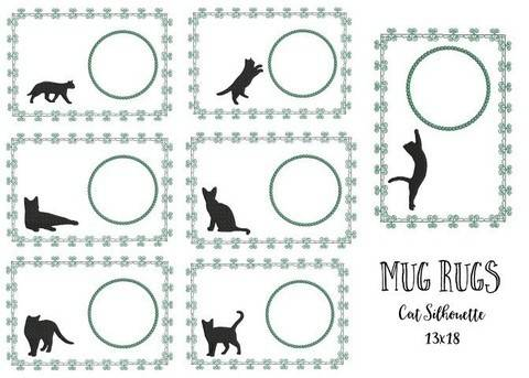 ITH Stickatei - Mug Rugs Cat Silhouettes in PES