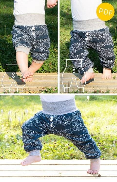 baggy baby pants and shorts - sewing pattern - baby toddler at Makerist