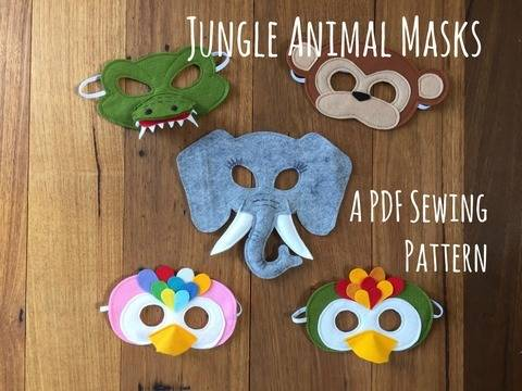 Jungle Animals - Crocodile / Alligator, Monkey, Elephant and Parrot / Tropical Bird - Felt Mask PDF Sewing Pattern