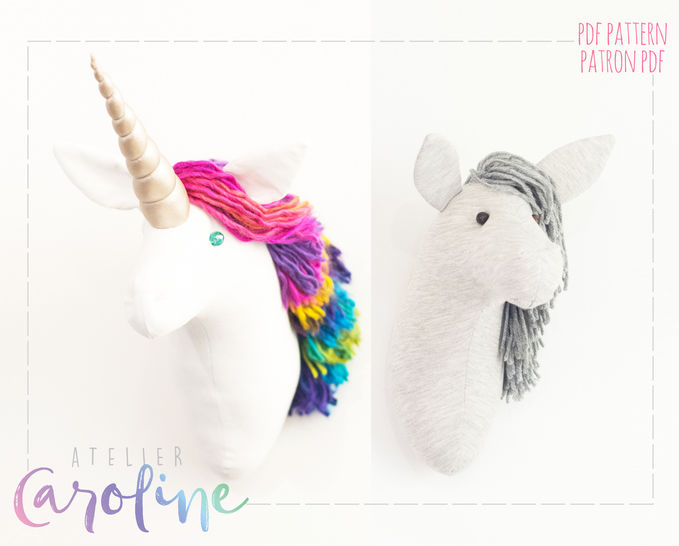 Faux taxidermy unicorn and horse, wall hanging at Makerist - Image 1