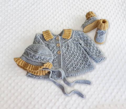 Angel Lace Baby Layette with Cardigan, Booties and Bonnet