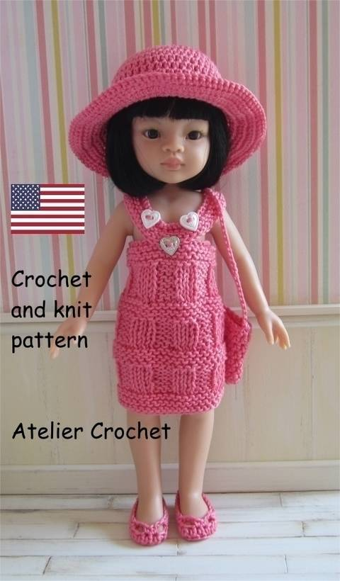 """Liu"" crochet and knit pattern for Paola Reina Doll"