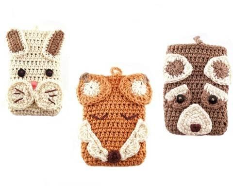 Häkelanleitung für 3 Smartphonetaschen Waldtiere