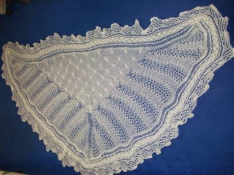 1ply lace and cable shawl