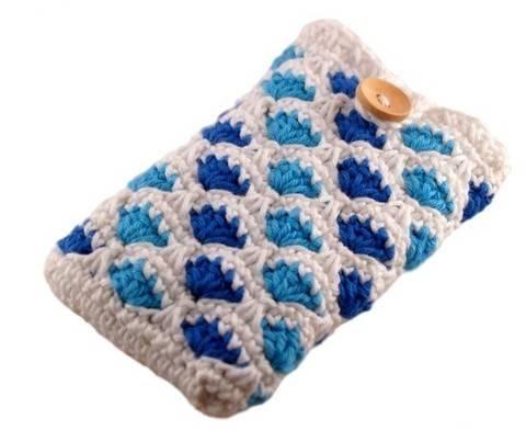 Häkelanleitung Smartphonetasche mit Muschelmuster