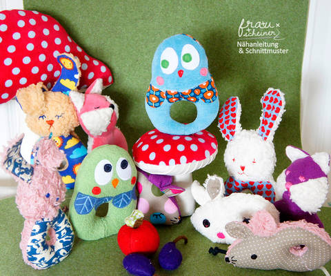Baby Rassel 4 Designs Hase, Maus, Eule, Fuchs