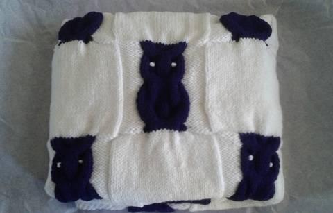 Couverture Hiboux - tutoriel de tricot chez Makerist
