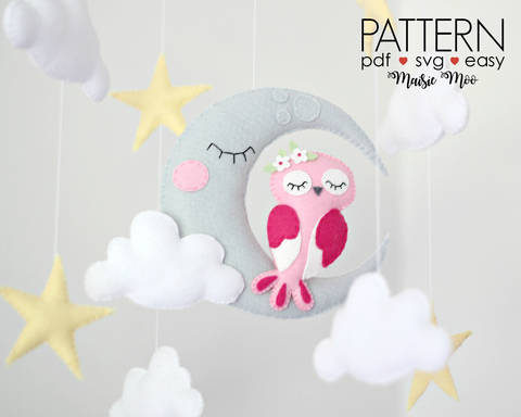 Owl Moon Baby Mobile Pattern, Felt Pattern, Owl Mobile at Makerist