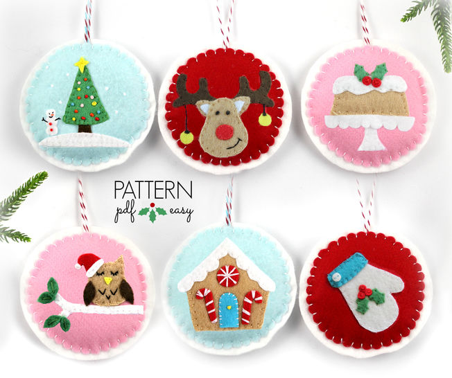 Christmas Ornaments Pattern - 6 Designs at Makerist - Image 1