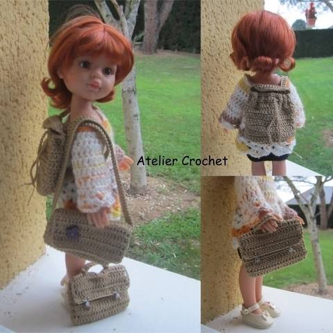 """""""Back to school"""" crochet pattern for Paola Reina doll"""