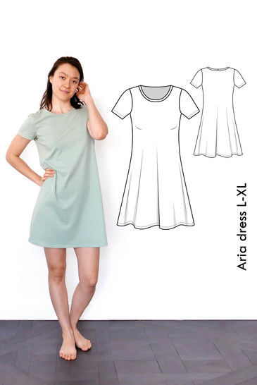 Aria Tshirt dress L-XL / US size 10-12 / UK 12-14 A4+ letter at Makerist - Image 1
