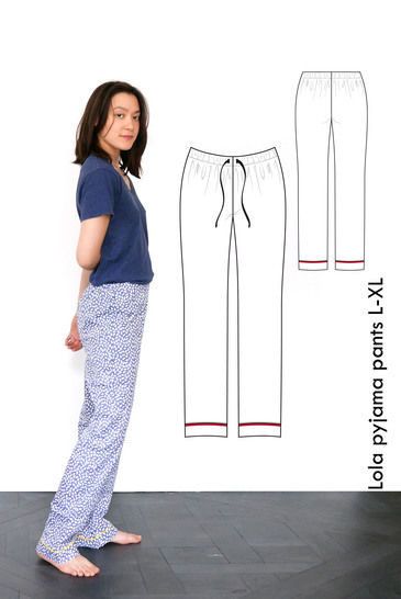 Poplin pajama pants Lola - L-XL / US size 10-12 / UK 12-14 at Makerist - Image 1