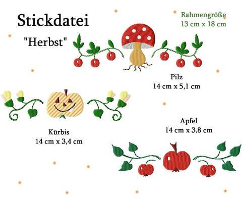"""Stickdatei """"Ornamente Herbst"""" in zwei Größen"""